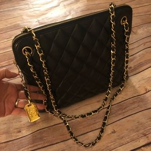 Chanel quilted matelasse lambskin chain tote bag